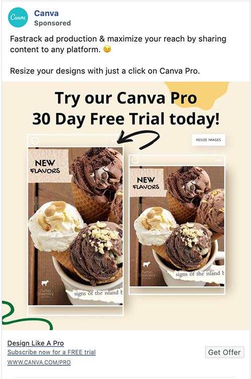 Canva Facebook annonce 3+ dages gratis prøveperiode