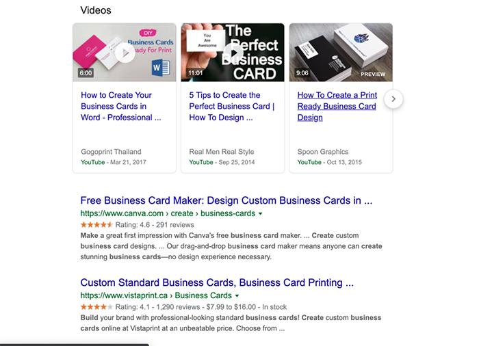 SERP på Google søgning