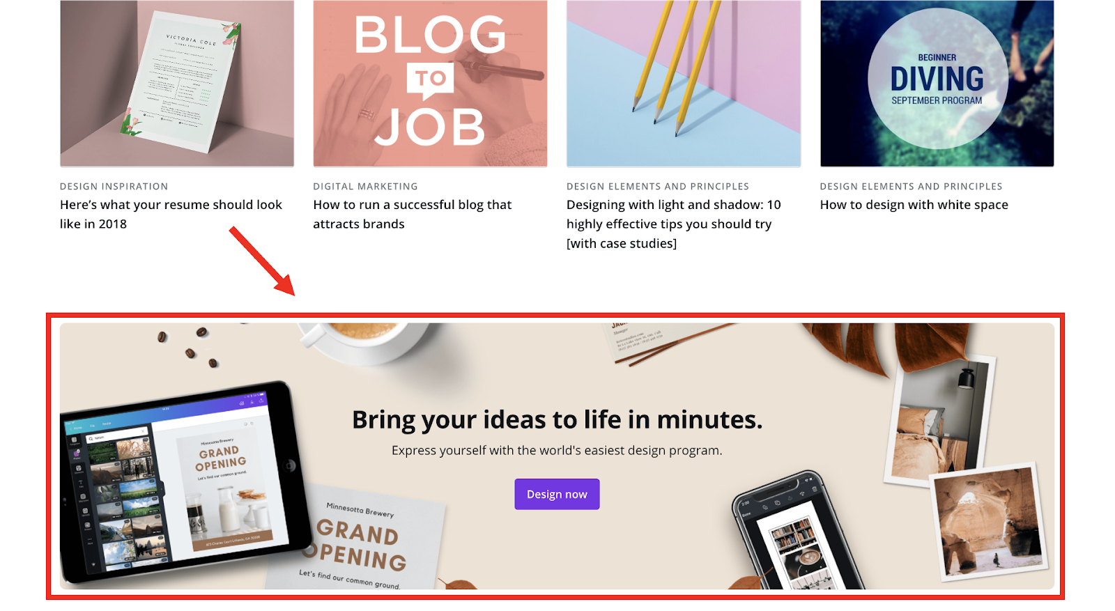 Canva footer call-to-action
