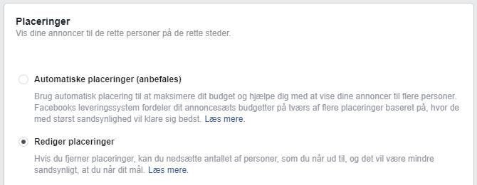 Facebook vælg placeringer