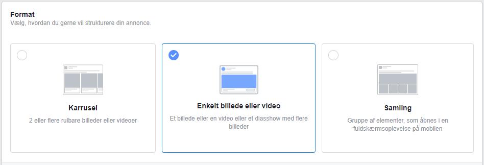 Facebook vælg format