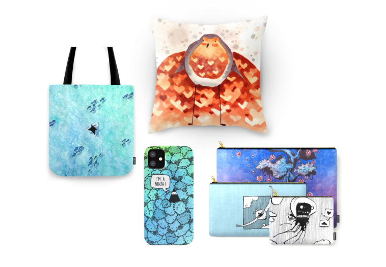 Several products with nice designs printed on them: a bag, a pillow, phone case and pouches.