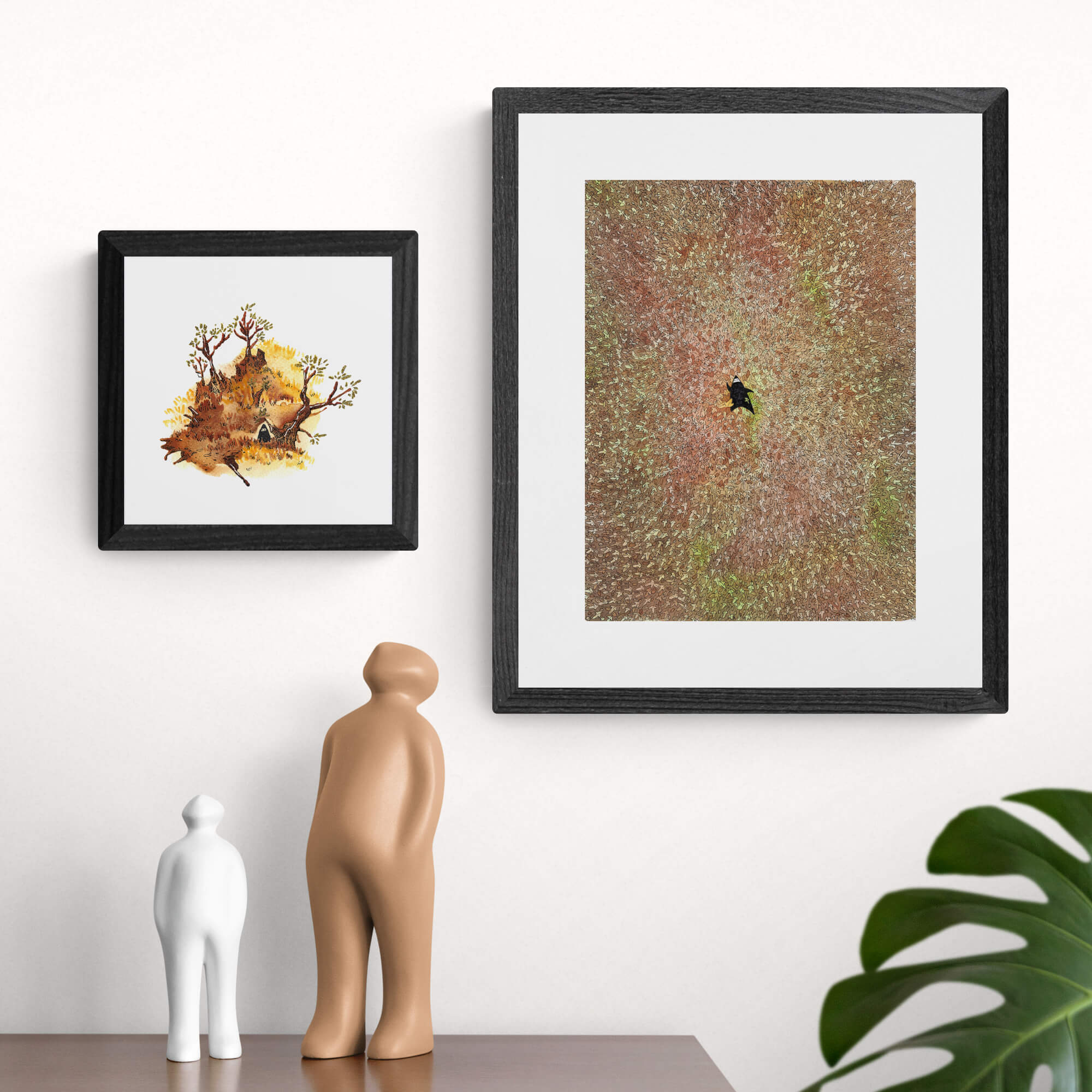 Two autumn paintings: one is abstract and one represents a ninja rolling in autumn leaves.