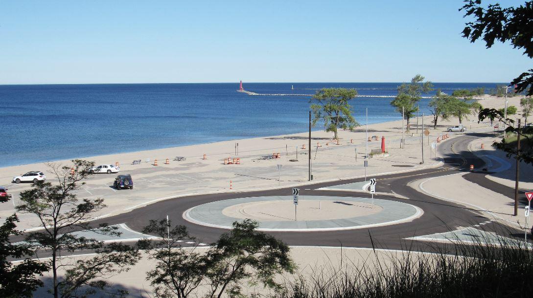 Beach with road and round-about.