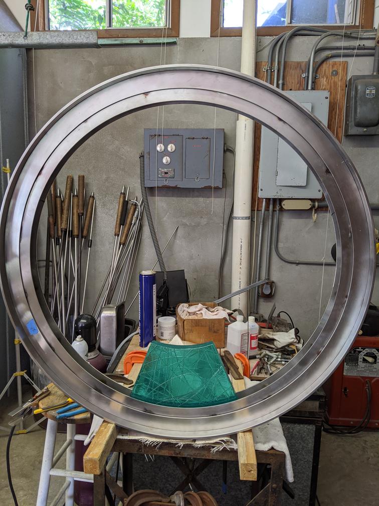 Metel hoop assembled in studio.