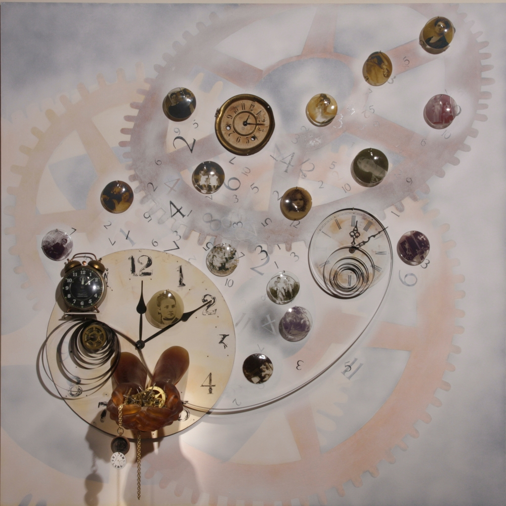 3D wall piece painting with 16 photos of people on glass, glass hands holding gears, and clock parts.
