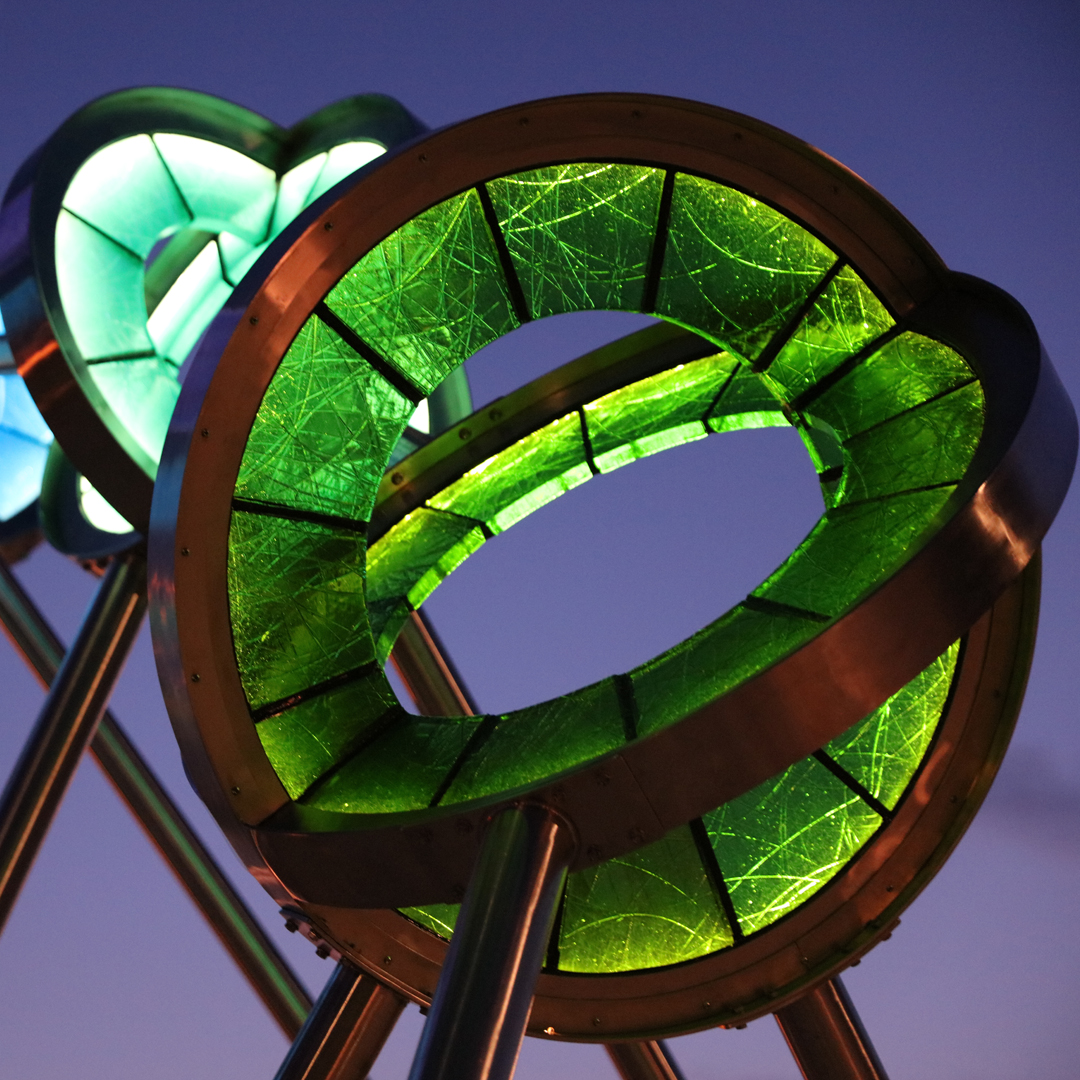 Glass and steel sculpture on the shore of Lake Michigan