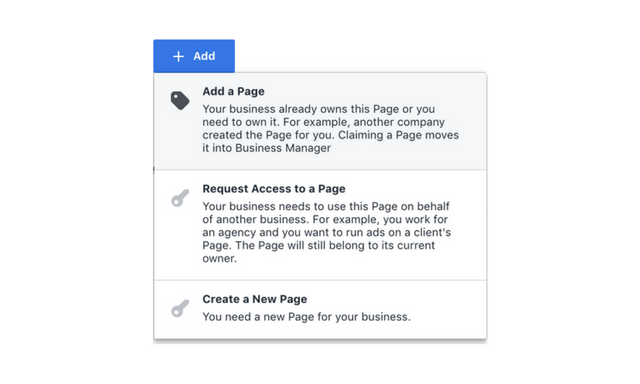 add a facebook business page