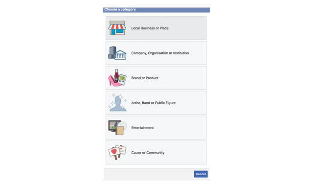 choose facebook page category