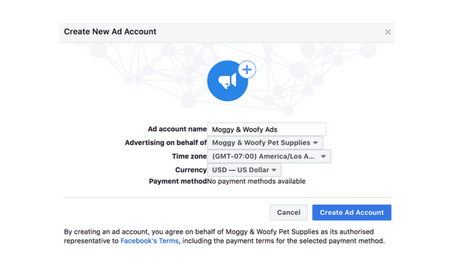 create new facebook ads account details