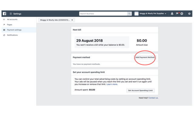 facebook ad payment settings