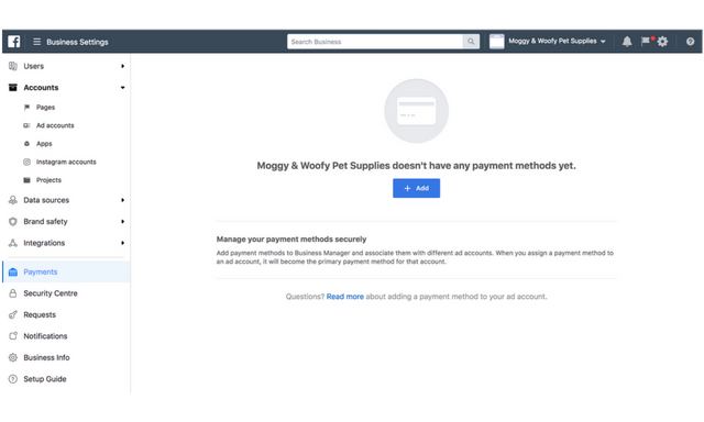 business manager payment settings