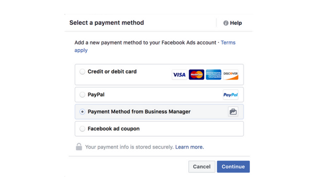select payment method from business manager