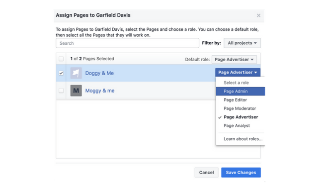 business manager assign pages