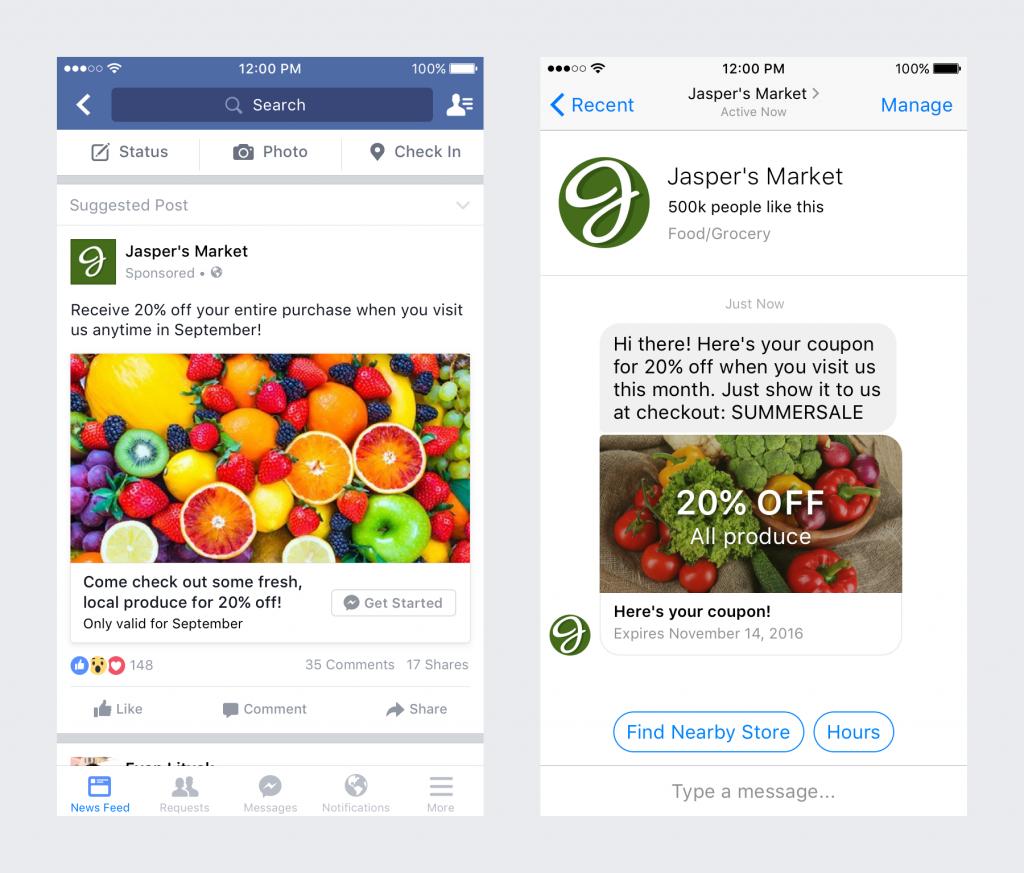 click-to-messenger ad jaspers market