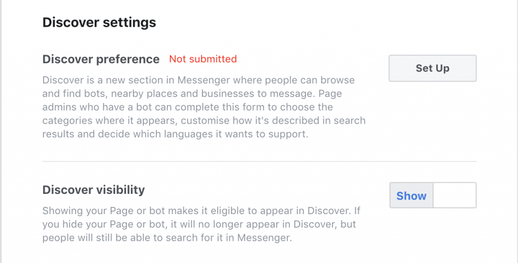 messenger discover settings
