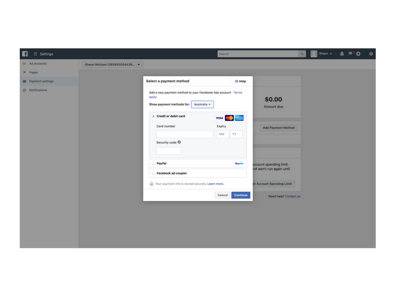 add payment method to facebook ads manager