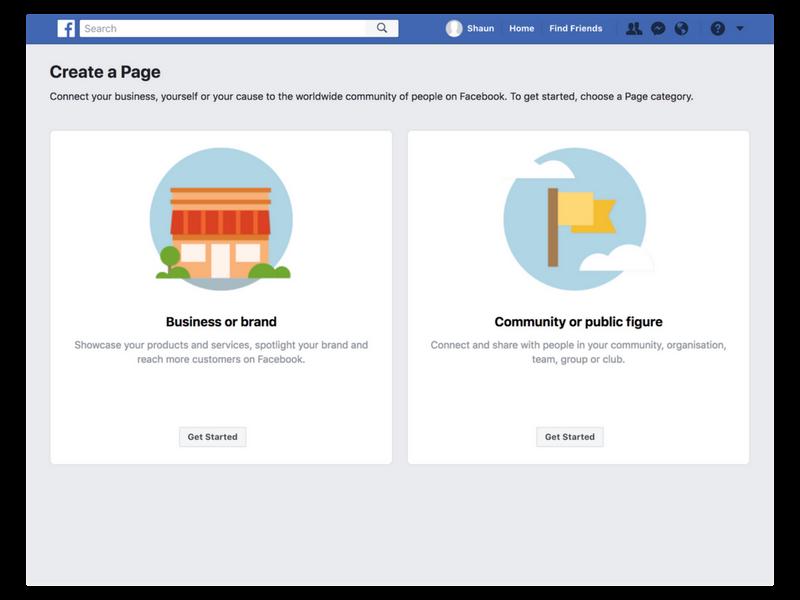 create facebook page main
