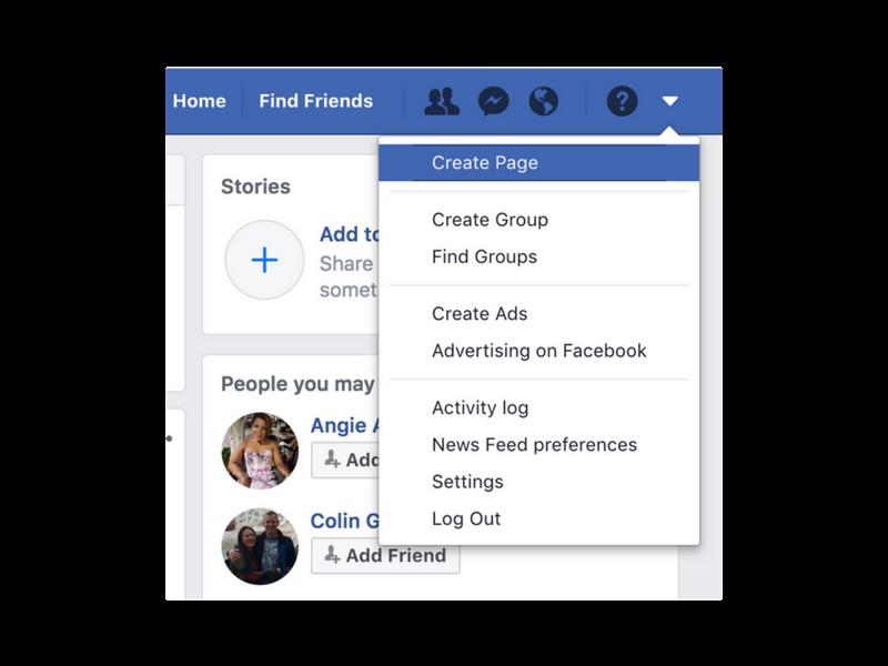 create facebook business page menu