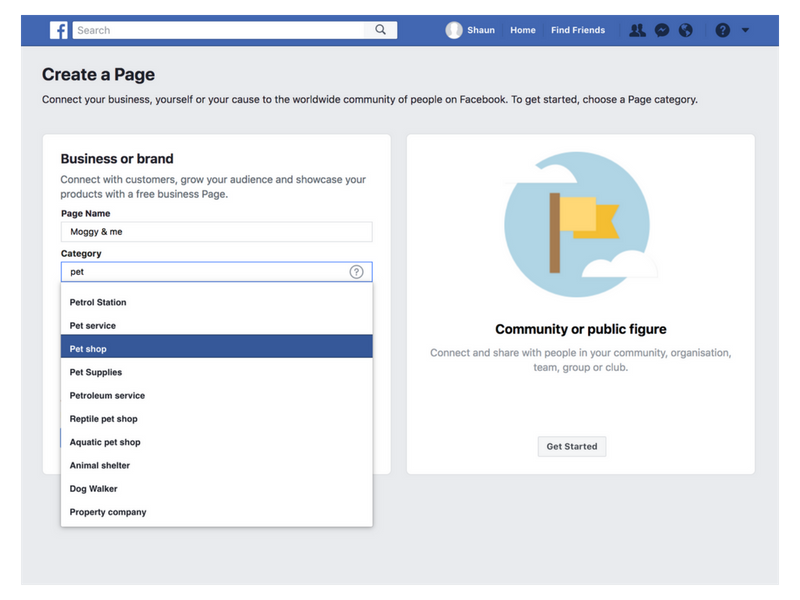 create facebook page info screen