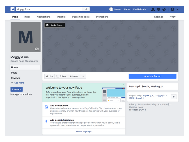 completed facebook business page