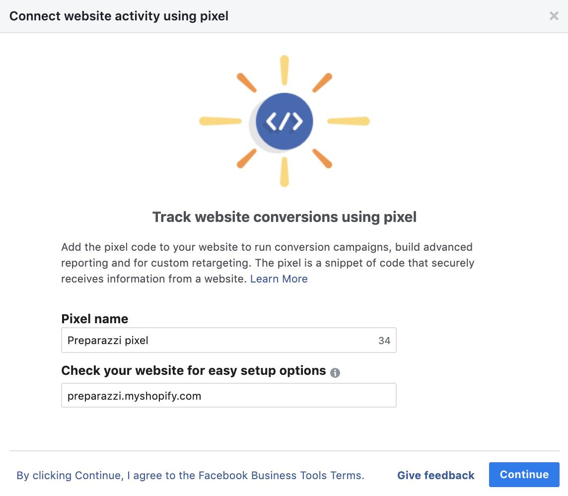 create facebook pixel step 2