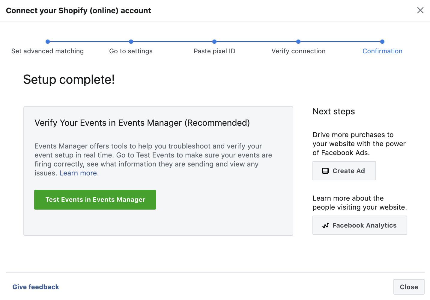 create facebook pixel step 10