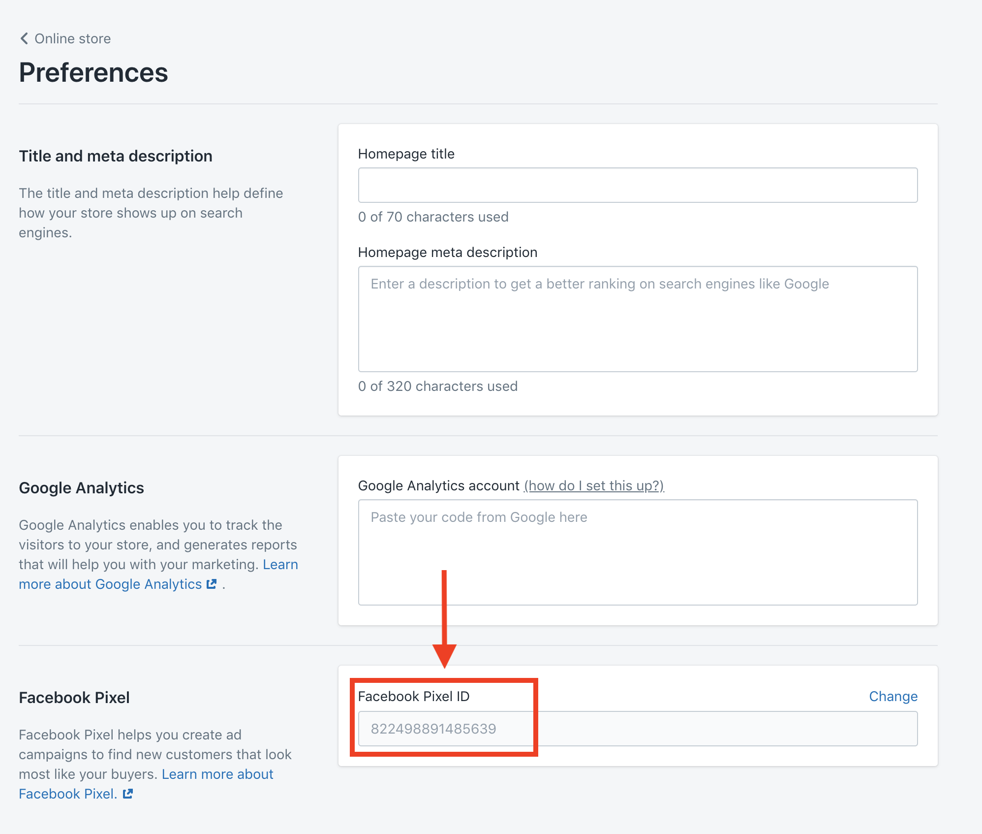 add pixel id to shopify preferences