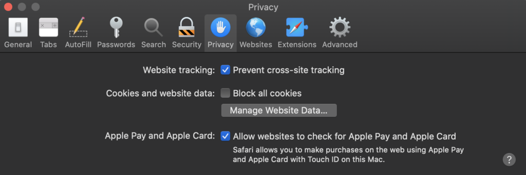 safari browser privacy settings