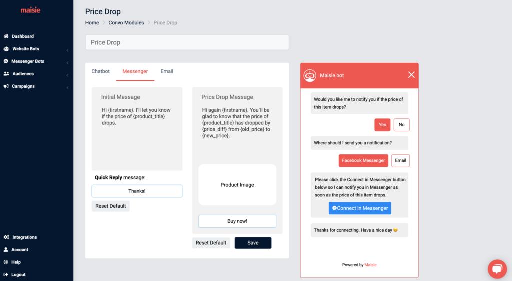 price drop module messenger settings