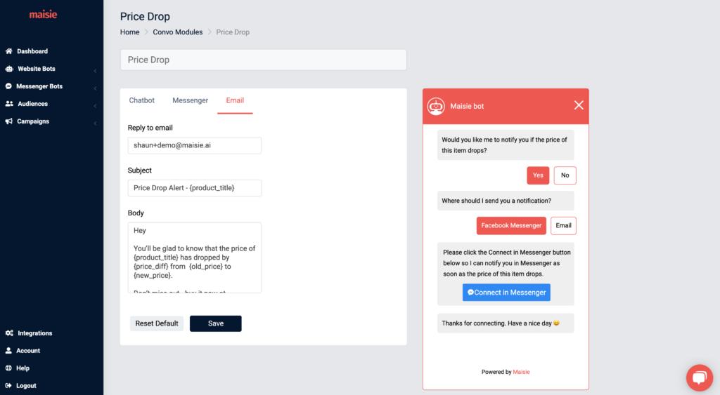price drop module email settings