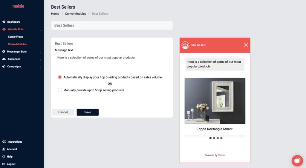 best sellers module settings