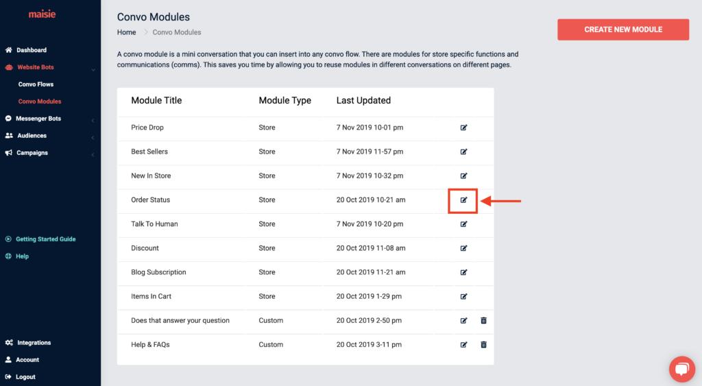 edit order status module