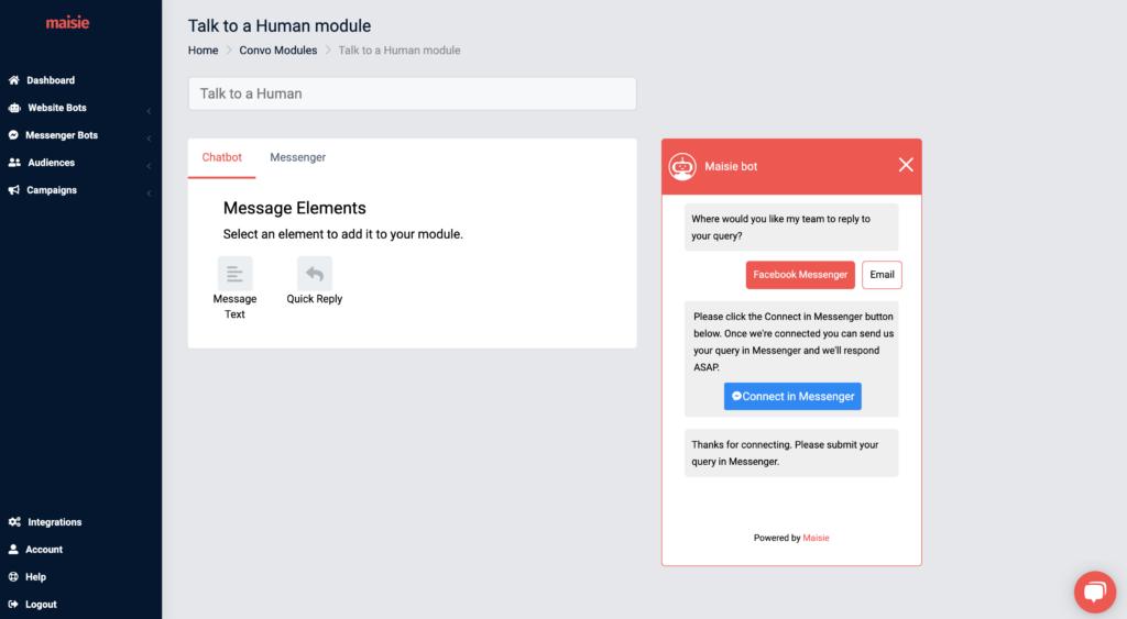 talk to human chatbot settings