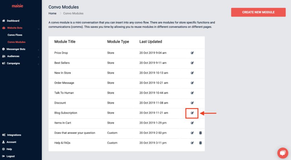 edit blog subscription module