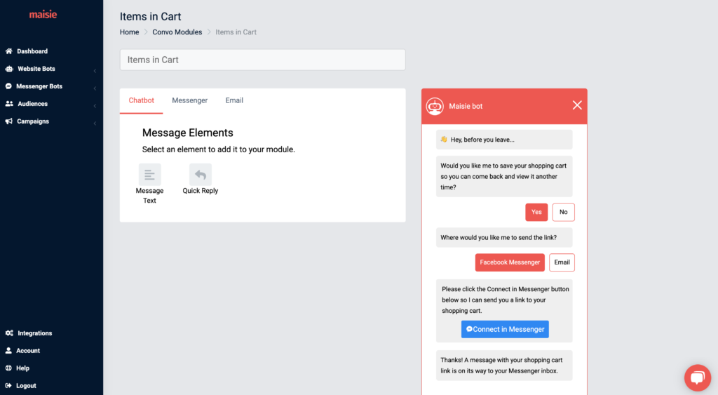 items in cart module chatbot settings