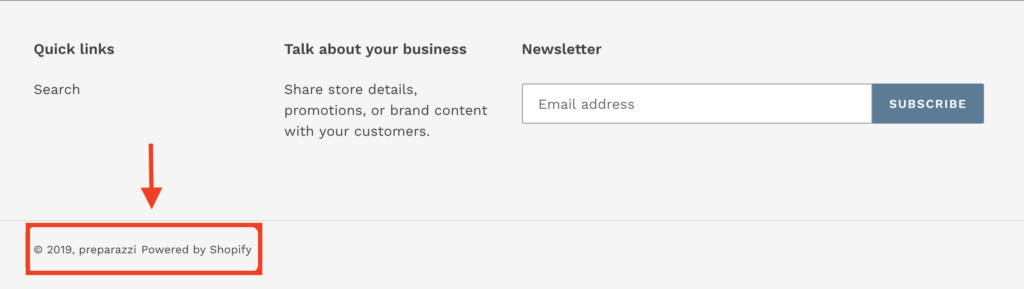 Powered by Shopify in website footer