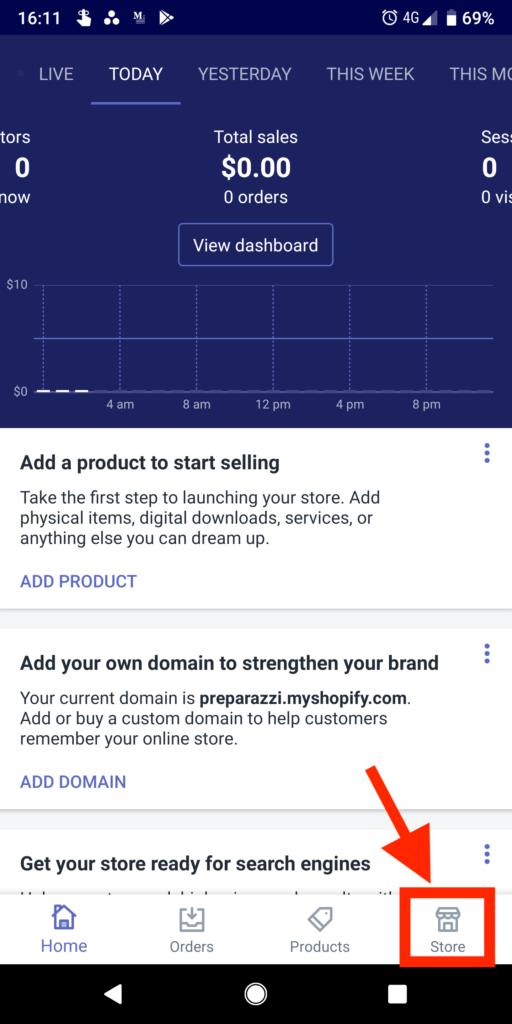 shopify app home screen