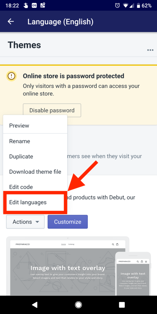 Selecting Edit languages on mobile app
