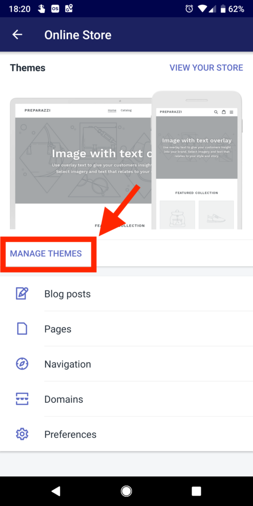Selecting Manage Themes on mobile app