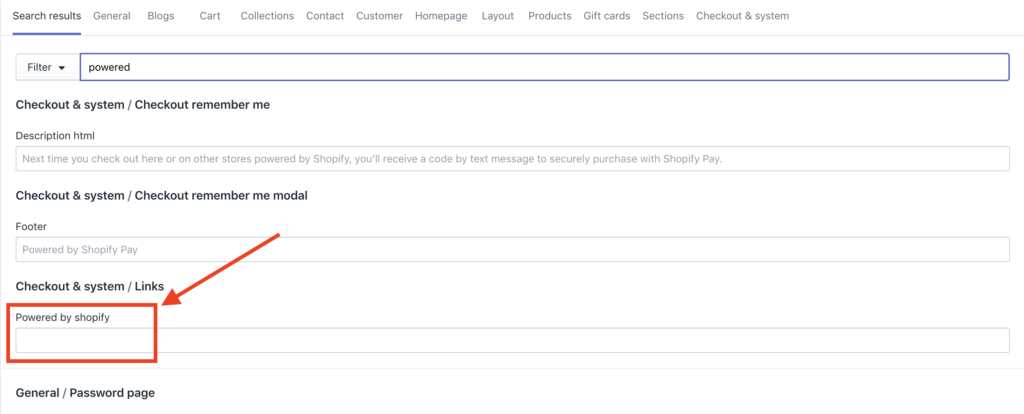 removing powered by shopify from checkout and system links