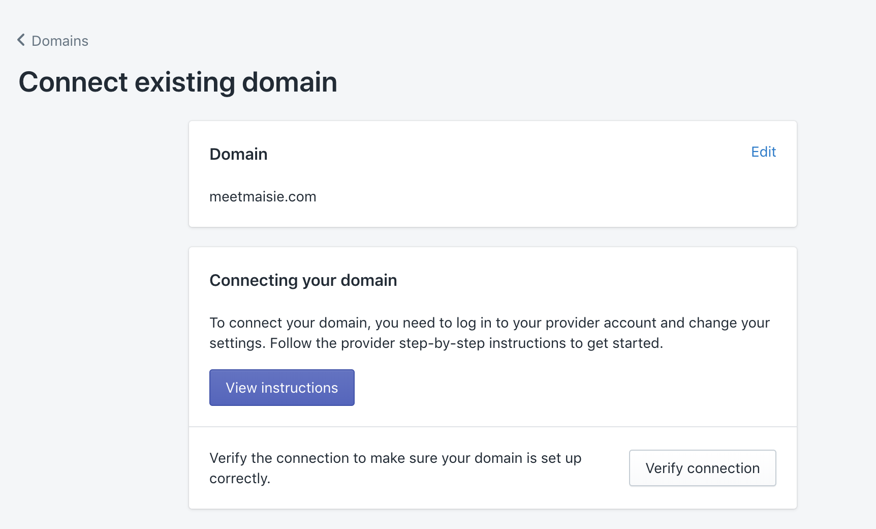 existing domain connected