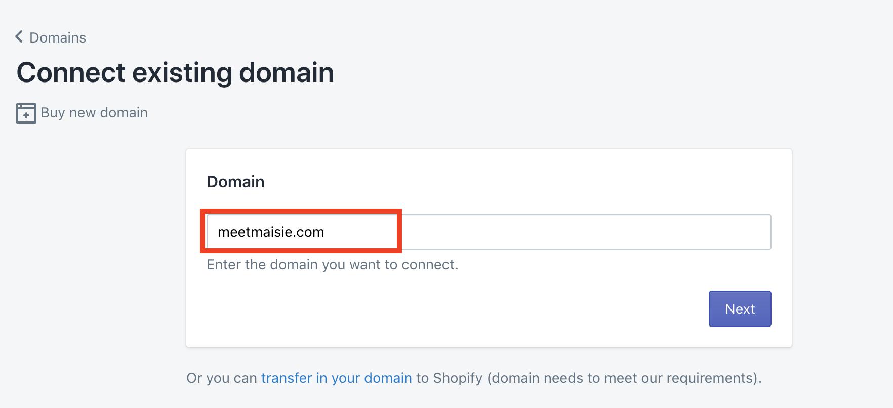 enter domain details