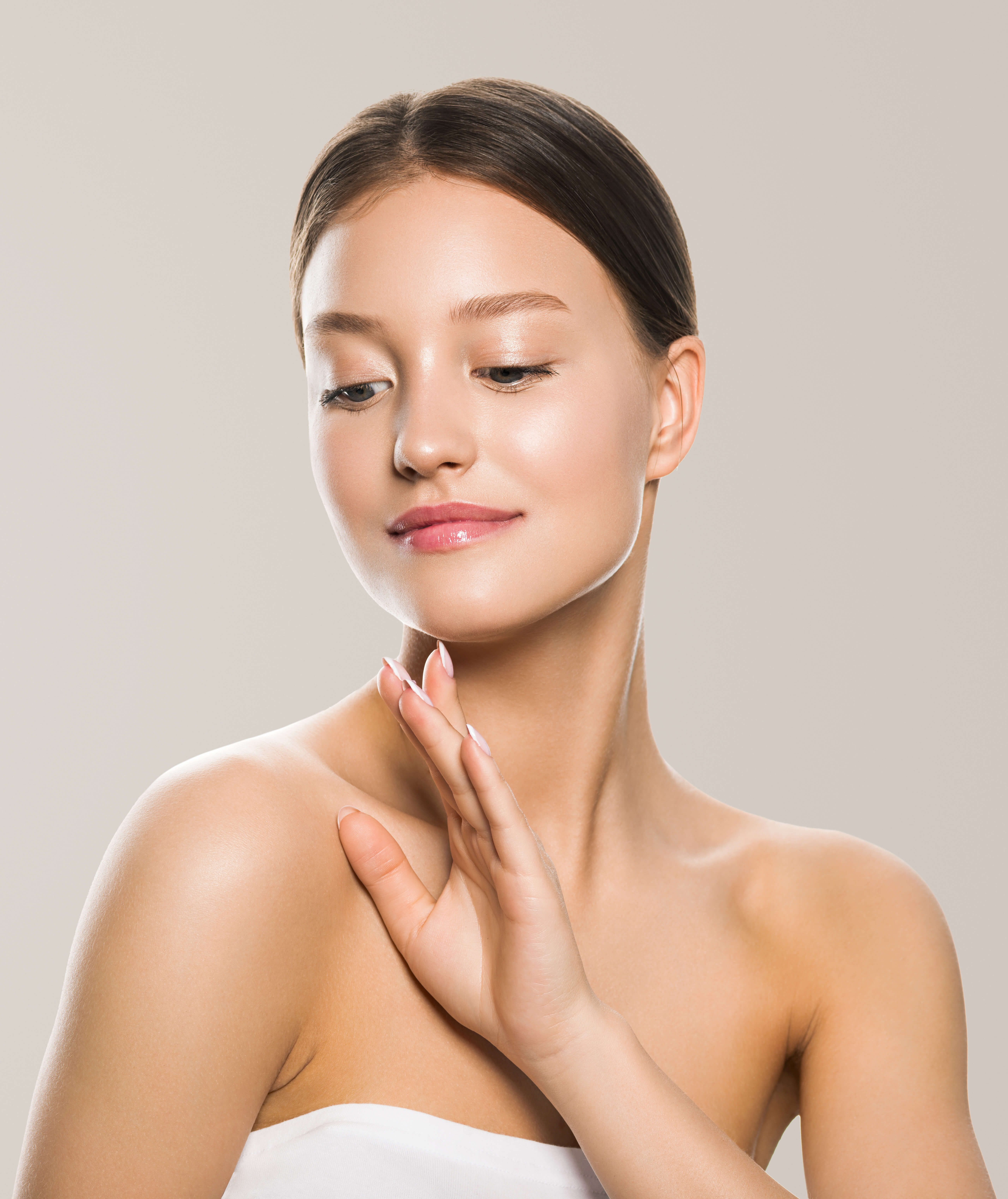 image of a model, with clear skin after hydrafacial