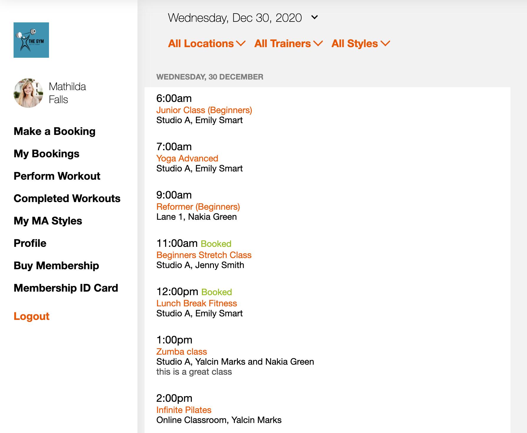Clubworx Fitness Business Software Dashboard v211