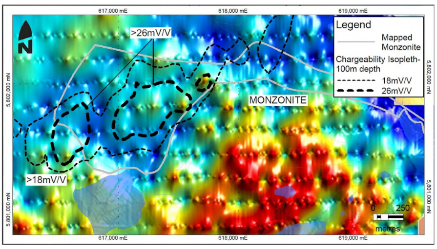 Coincident IP and magnetic anomaly within mapped monzonite on the Lemon Lake property