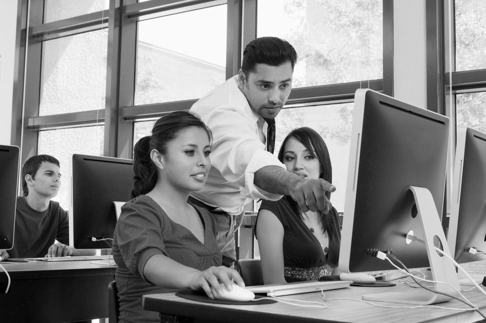 Teacher instructing students careers