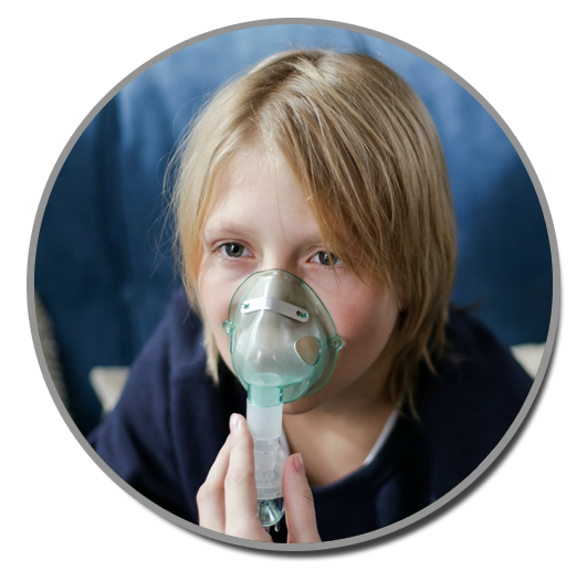 asthmatic boy with oxygen mask