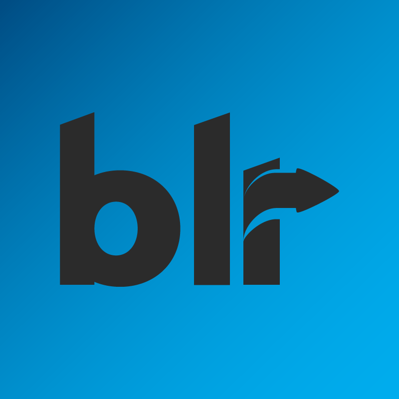 blr logo on blue background
