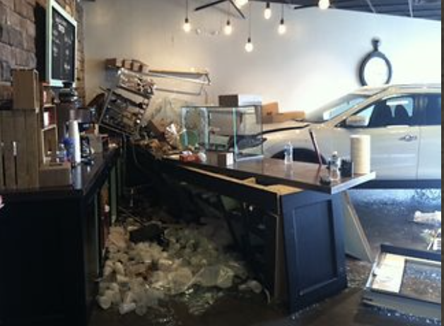 Car crashed into the storefront